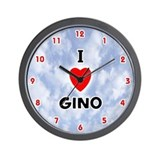 I Love Gino (Red/Blk) Valentine Wall Clock