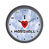 I Love Marshall (Black) Valentine Wall Clock