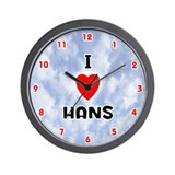 I Love Hans (Red/Blk) Valentine Wall Clock