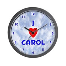 I Love Carol (Blue) Valentine Wall Clock