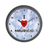 I Love Mauricio (Black) Valentine Wall Clock