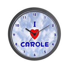 I Love Carole (Blue) Valentine Wall Clock