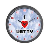 I Love Hetty (Red/Blk) Valentine Wall Clock
