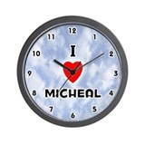 I Love Micheal (Black) Valentine Wall Clock