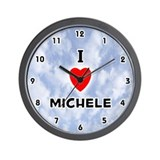 I Love Michele (Black) Valentine Wall Clock