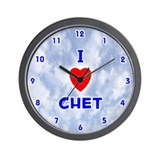 I Love Chet (Blue) Valentine Wall Clock