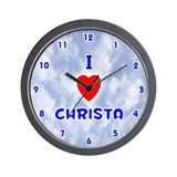 I Love Christa (Blue) Valentine Wall Clock