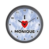 I Love Monique (Black) Valentine Wall Clock