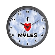 I Love Myles (Black) Valentine Wall Clock