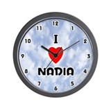 I Love Nadia (Black) Valentine Wall Clock