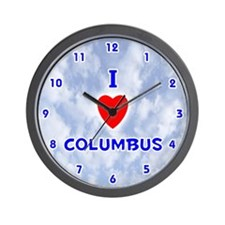 I Love Columbus (Blue) Valentine Wall Clock