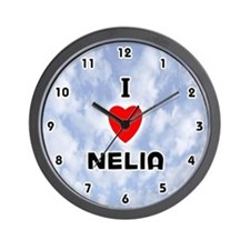 I Love Nelia (Black) Valentine Wall Clock
