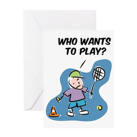 Funny tennis cartoon Greeting Card