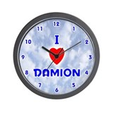 I Love Damion (Blue) Valentine Wall Clock