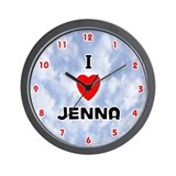 I Love Jenna (Red/Blk) Valentine Wall Clock