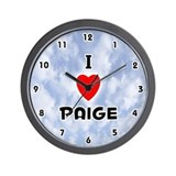 I Love Paige (Black) Valentine Wall Clock