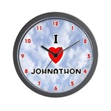 I Love Johnathon (Red/Blk) Valentine Wall Clock