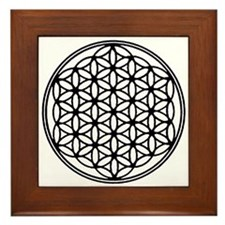 Flower of Life in Black Framed Tile