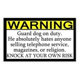 Warning Solicitor Guard Dog Rectangle Decal