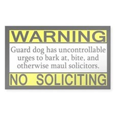 Warning No Soliciting Guard Rectangle Decal