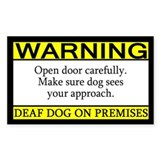 Warning Deaf Dog Rectangle Decal