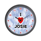 I Love Josie (Red/Blk) Valentine Wall Clock