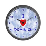I Love Dominick (Blue) Valentine Wall Clock