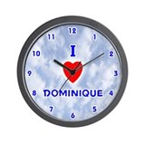 I Love Dominique (Blue) Valentine Wall Clock