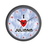 I Love Juliana (Red/Blk) Valentine Wall Clock