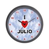 I Love Julio (Red/Blk) Valentine Wall Clock