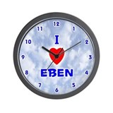 I Love Eben (Blue) Valentine Wall Clock