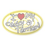 Hypno I Love My Cesky Terrier Oval Sticker Ylw