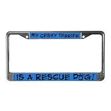 Rescue Dog Cesky Terrier License Plate Frame