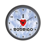 I Love Rodrigo (Black) Valentine Wall Clock