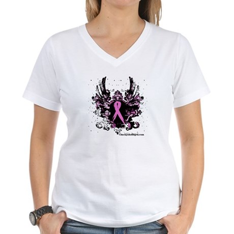Tough Girl Breast Cancer Women's V-Neck T-Shirt
