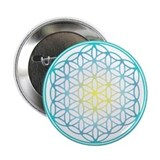 "Flower of Life - Aqua 2.25"" Button"