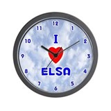I Love Elsa (Blue) Valentine Wall Clock