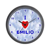 I Love Emilio (Blue) Valentine Wall Clock
