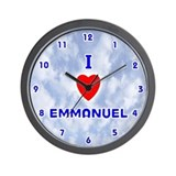 I Love Emmanuel (Blue) Valentine Wall Clock