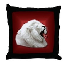 White Lion on Red Throw Pillow