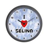 I Love Selina (Black) Valentine Wall Clock