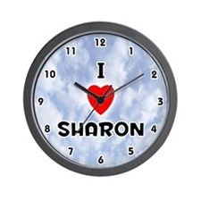 I Love Sharon (Black) Valentine Wall Clock