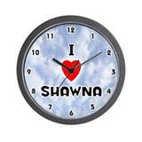 I Love Shawna (Black) Valentine Wall Clock