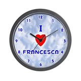 I Love Francesca (Blue) Valentine Wall Clock