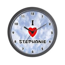I Love Stephanie (Black) Valentine Wall Clock
