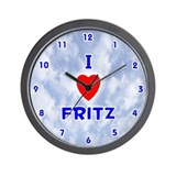 I Love Fritz (Blue) Valentine Wall Clock