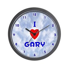 I Love Gary (Blue) Valentine Wall Clock