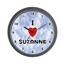 I Love Suzanne (Black) Valentine Wall Clock