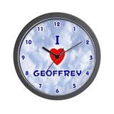 I Love Geoffrey (Blue) Valentine Wall Clock