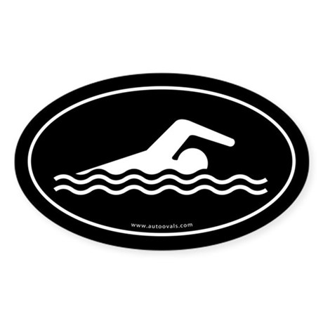 Swimming Auto Decal -Black (Oval)